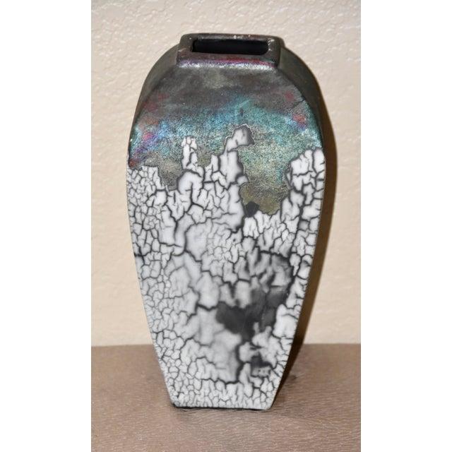 Tony Evans Tony Evans Raku Fired Studio Pottery Decorative Art Vase For Sale - Image 4 of 9