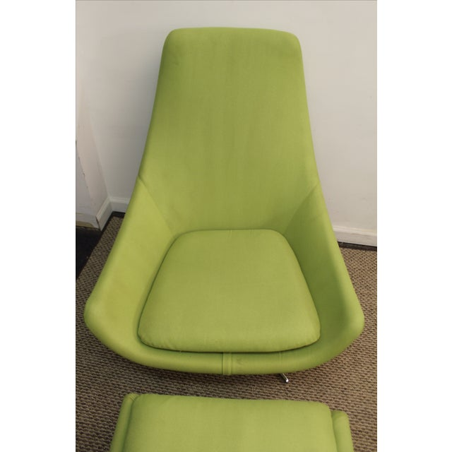 Mid-Century Lime Green Swivel Lounge Chair & Ottoman - Image 4 of 11