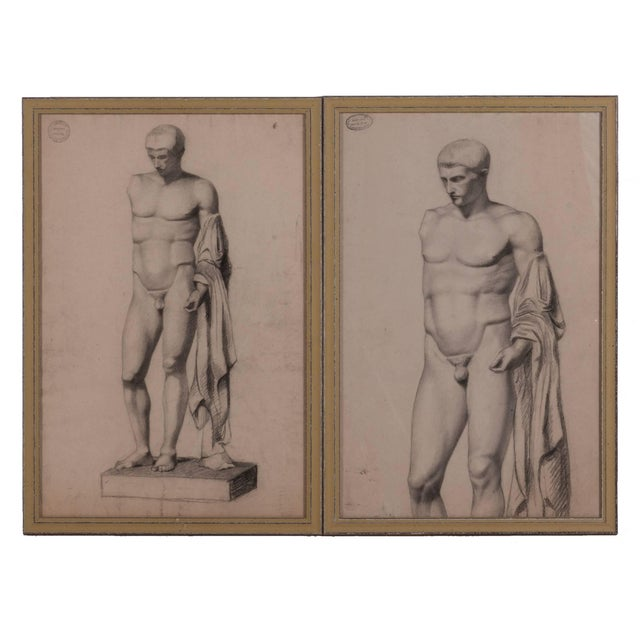 Gray A Pair of Charcoal Drawings of a Sculpture of a Male Nude For Sale - Image 8 of 8