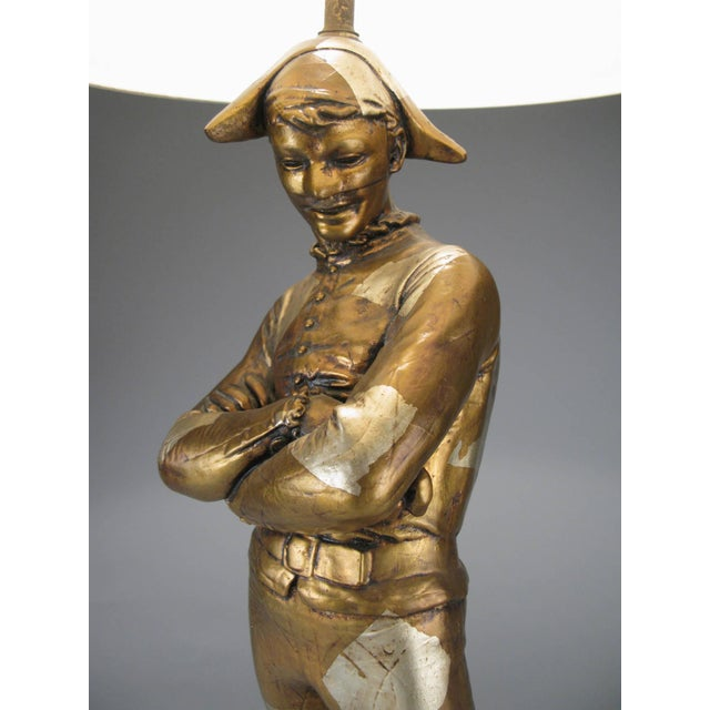 Vintage 1960s Harlequin Jester Lamp in Gold and Silver Leaf For Sale In New York - Image 6 of 7