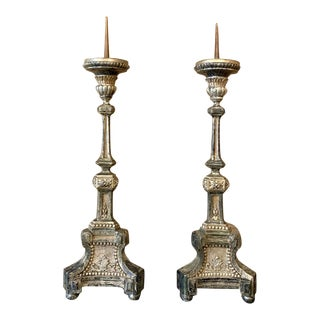 Pair Candlesticks, 18th Century Italian Neoclassical Polychrome For Sale