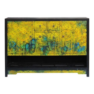Yellow Floral Graphic Impasto Oil Painted Credenza Table Cabinet For Sale