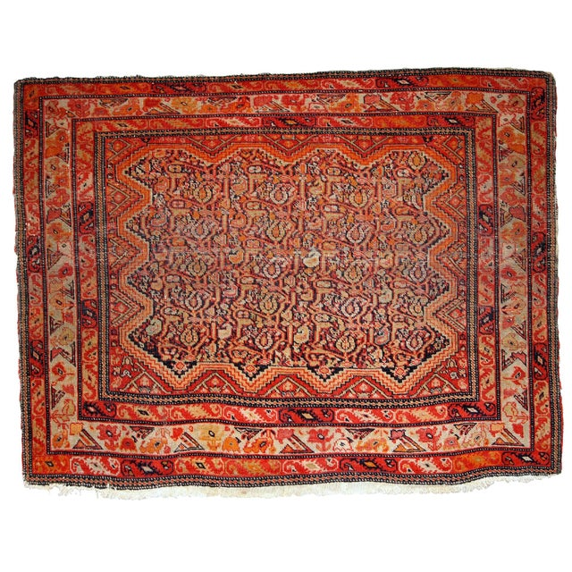 Textile 1880s, Handmade Antique Collectible Persian Mishan Malayer Rug 2.3' X 3.7' For Sale - Image 7 of 7