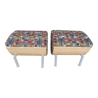 21st Century Soho Contract Group Fabric Ottoman- a Pair For Sale