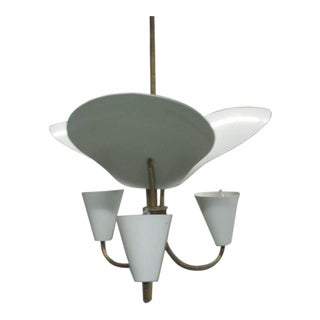 French Mid-Century Modern Reflector Chandelier Attributed to Jacques Biny, 1950