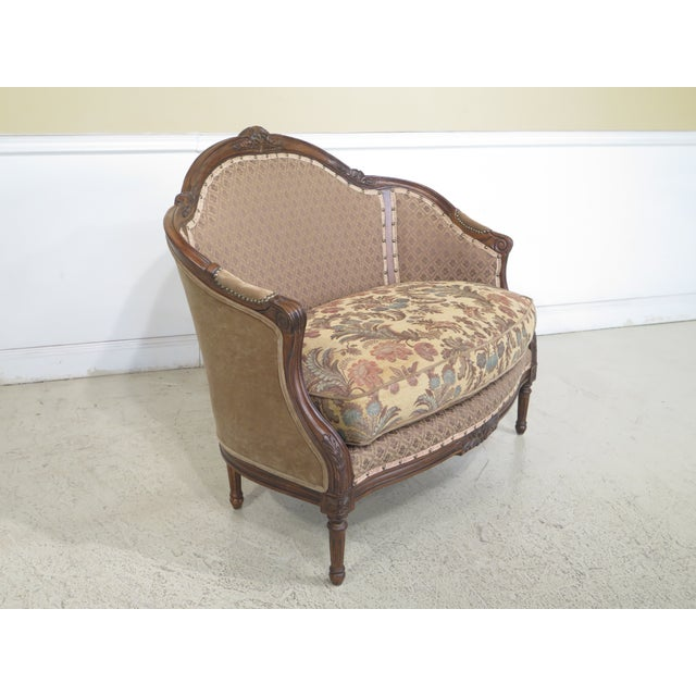 French Louis XV Style Loveseat with Ottoman - A Pair For Sale - Image 4 of 13