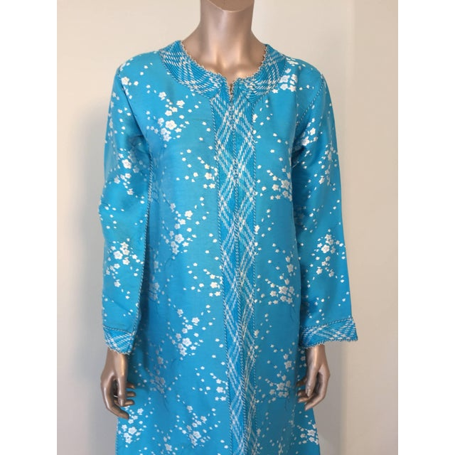 Islamic Vintage Moroccan Designer Kaftan Turquoise Maxi Dress Kaftan Size Small For Sale - Image 3 of 9