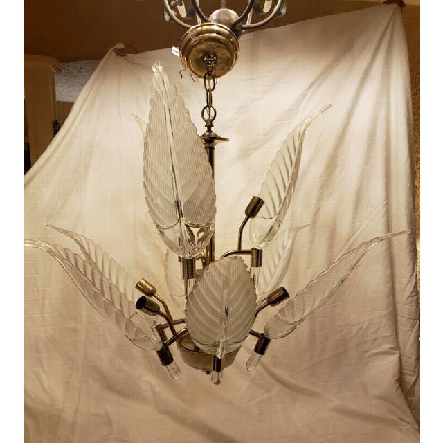 Murano Murano Glass & Brass Italian Leaf Chandelier For Sale - Image 4 of 8