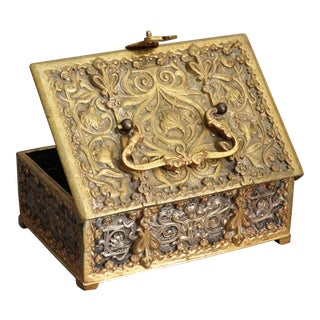 Antique French Bronze Ropousse Box For Sale
