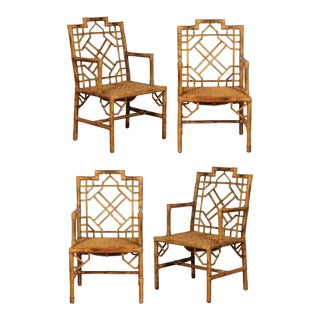Beautiful Pair of Vintage Rattan Chippendale Style Armchairs For Sale