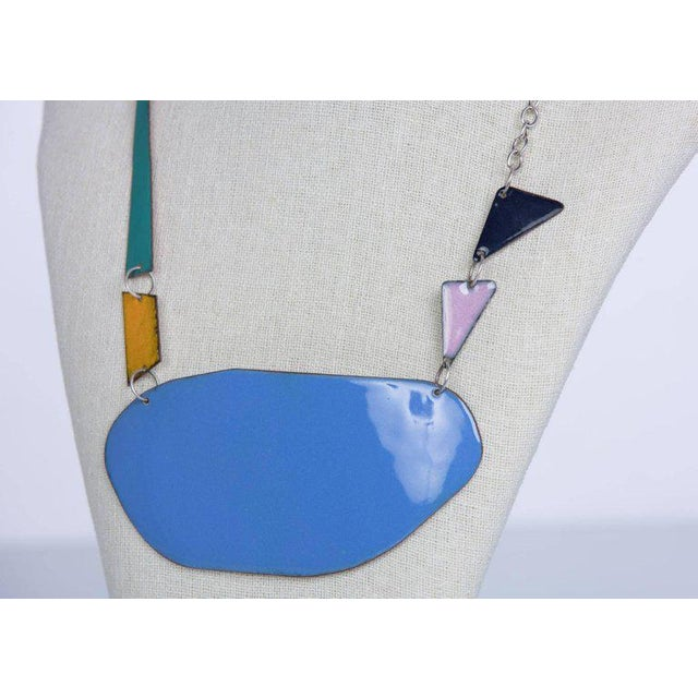 Michel McNabb for Basha Gold Blue Pond Enamel Sterling Silver Chain Necklace For Sale - Image 4 of 5
