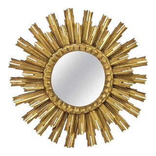 French Gilt Starburst or Sunburst Mirror (Diameter 25) For Sale