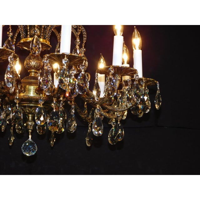 French Antique French Brass Cut Lead Crystal Chandelier For Sale - Image 3 of 13