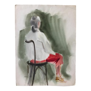 1970's Vintage Watercolor, Woman in Chair For Sale