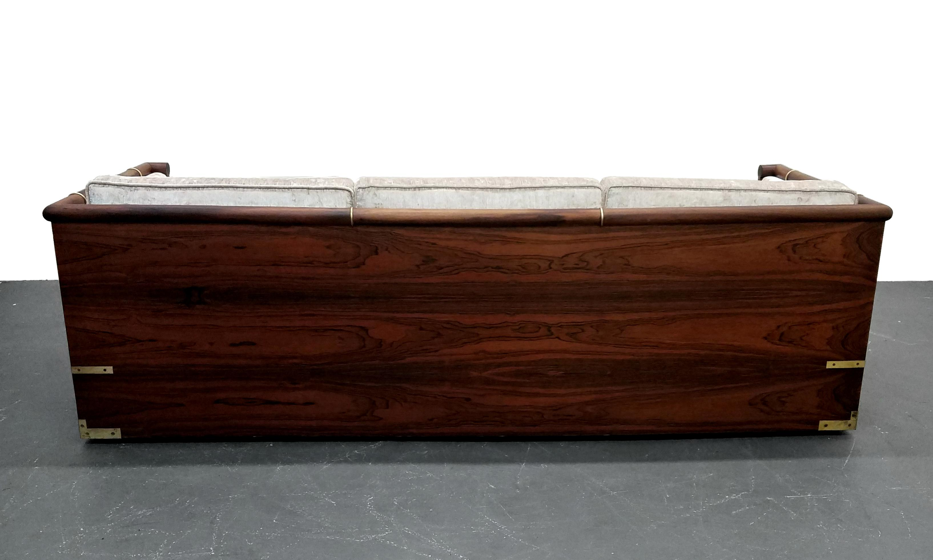Mid Century Rosewood Campaign Style Case Sofa With Brass