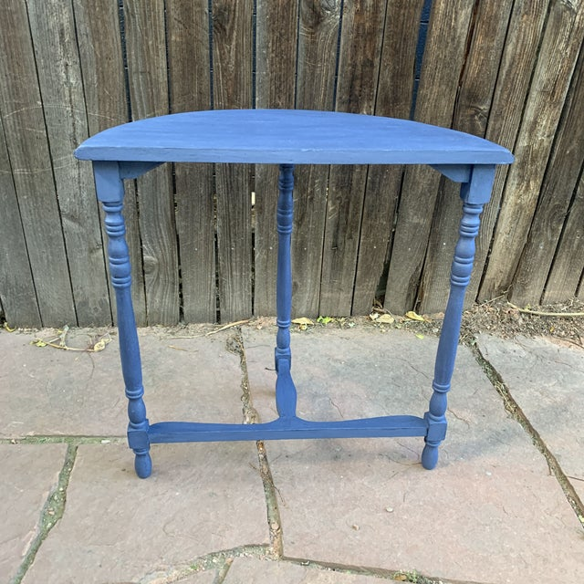 Metal Transitional Blue Chalk Paint Demi Lune Side Table With Turned Legs For Sale - Image 7 of 13
