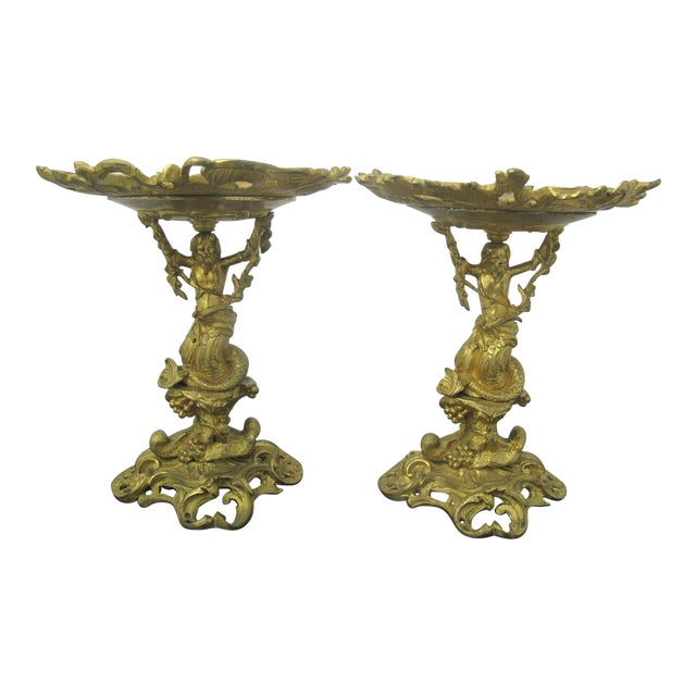 Antique 19th C. French Gilt Ormolu Bronze Neptune Poseidon Candle Card Holders - a Pair For Sale