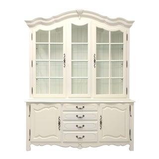 Ethan Allen French Country Ivory Painted China Cabinet For Sale