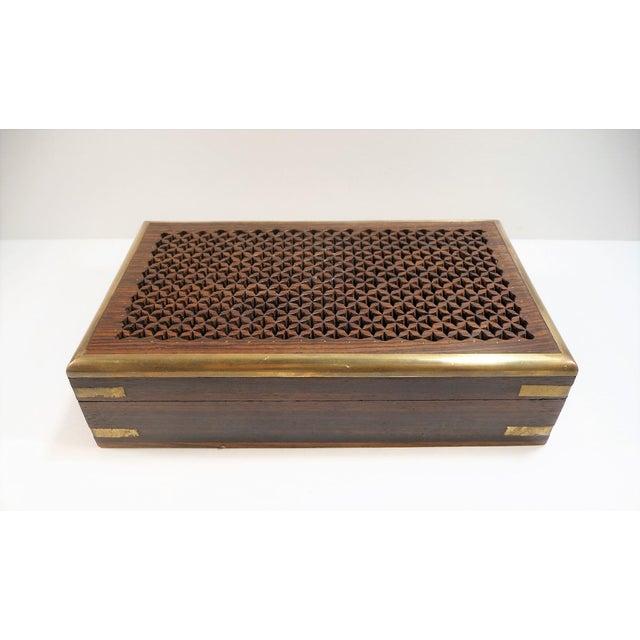 Vintage Pierced Wood Box - Image 2 of 7