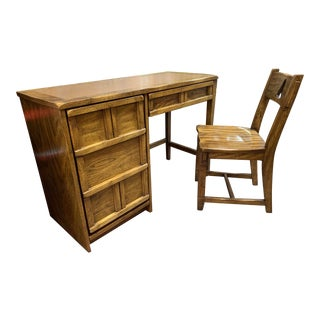1960s Fruitwood Desk and Chair For Sale
