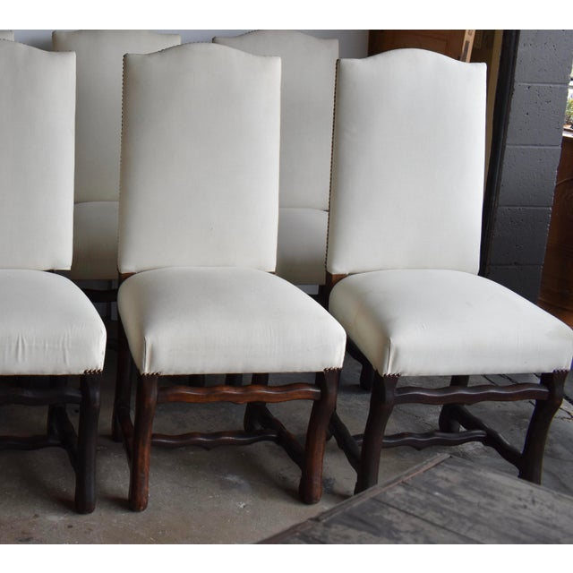 Oak 1940s French Provincial Upholstered Os De Mouton Dining Chairs - Set of 10 For Sale - Image 7 of 13