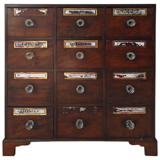 Federal Mahogany Footed Apothecary Chest For Sale