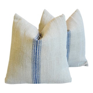 "Blue Striped French Farmhouse Grain Sack Feather/Down Pillows 18"" Square - Pair For Sale"