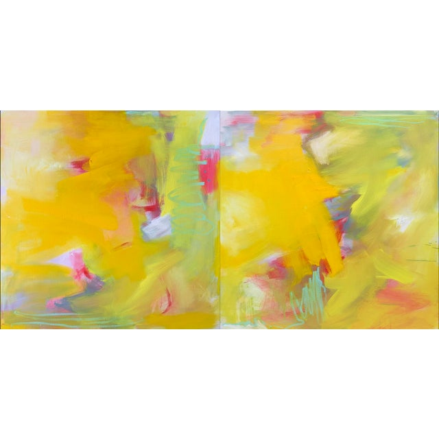 """Up and Away"" by Trixie Pitts Large Abstract Diptych Oil Painting For Sale - Image 12 of 13"