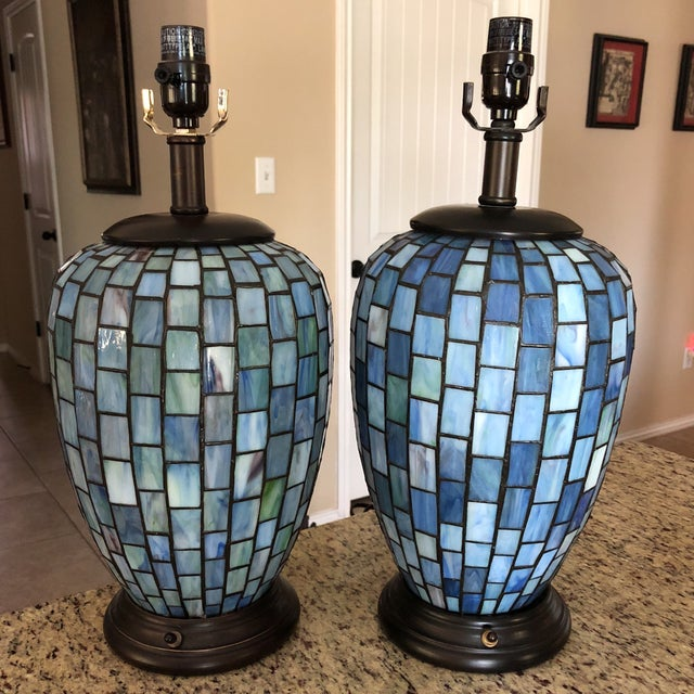 Arts and Crafts Geometric Blue Stained Glass Lamps - a Pair For Sale - Image 12 of 13