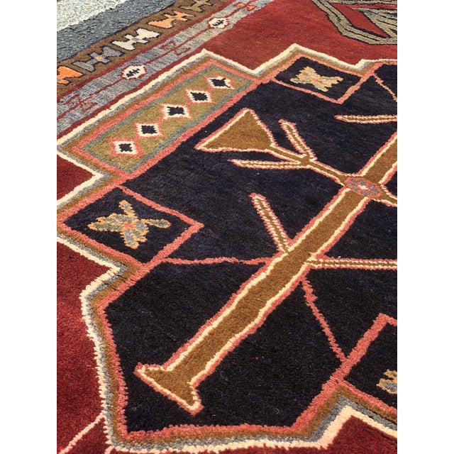 "1950s Art Deco Persian Meshkin Wool Runner - 3'8""x11'7"" For Sale - Image 12 of 13"