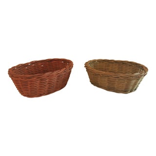 Vintage Small Colored Baskets - Set of 2 For Sale