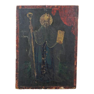 Antique 19th Century Hand Painted Christian Icon Saint Patrick on Board Wood Panel For Sale
