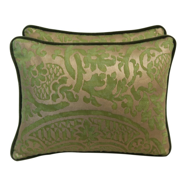 Pair of Green Orsini Fortuny Pillows For Sale