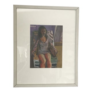 """""""Girl with Shirtdress"""" Contemporary Portrait Painting, Framed For Sale"""