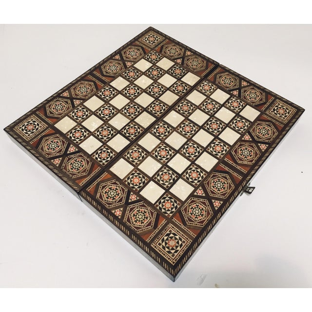 Vintage Mid-Century Syrian Inlaid Mosaic Backgammon and Chess Game For Sale - Image 4 of 12