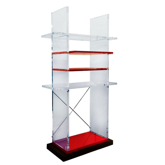 Postmodern 1980´s Pair of Bookcases, Plexiglas, Cast Iron - Italy For Sale - Image 3 of 8