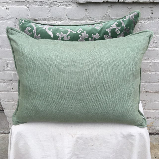 Silver Stencil Green Velvet Pillows - A Pair - Image 6 of 6