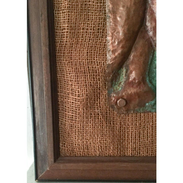Mid-Century Nude Woman Copper Relief Art For Sale - Image 4 of 8