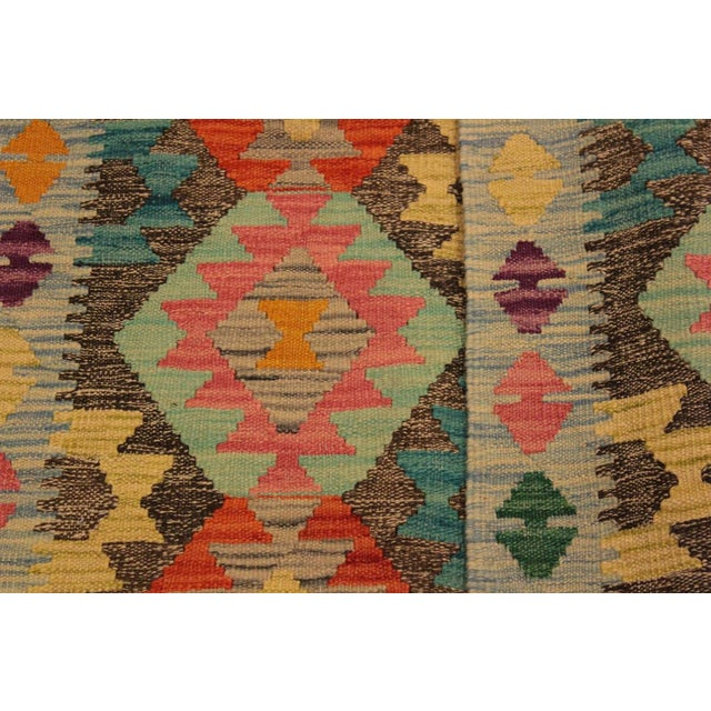"Kilim Arya Sang Blue & Gray Wool Rug - 2' 7"" X 4' 1"" For Sale - Image 4 of 8"