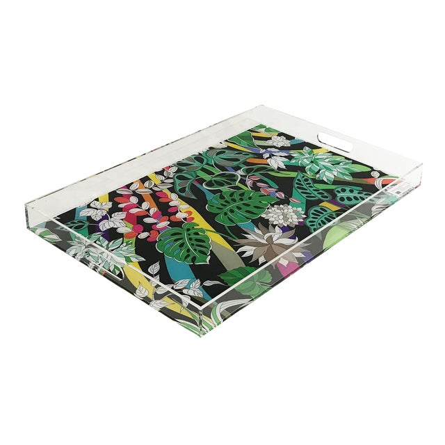 "Nicolette Mayer Sabi Jungle Black 22.5""x 14.5"" Acrylic Tray For Sale"