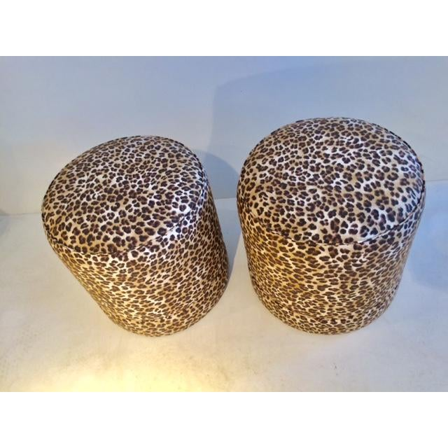 2010s Todd Hase Namesake Leopard Print Ruth Drum Ottomans- A Pair For Sale - Image 5 of 13