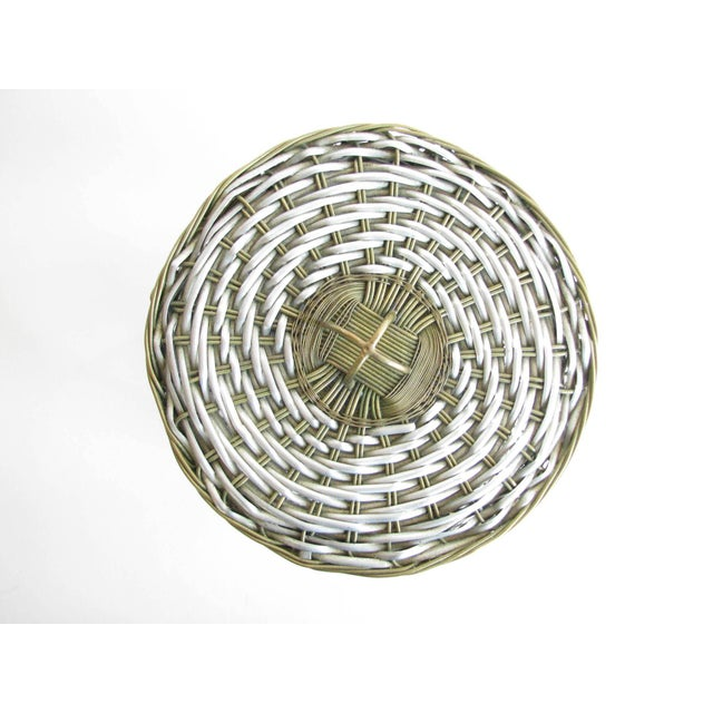Metal Vintage Woven Two-Tone Metal Wire Lidded Basket For Sale - Image 7 of 11
