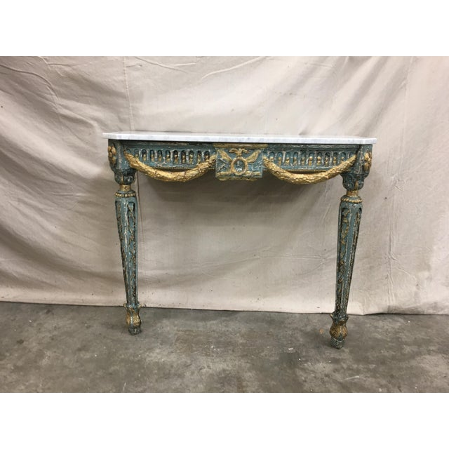 19th C French Marble Top Painted Console Table For Sale - Image 9 of 10