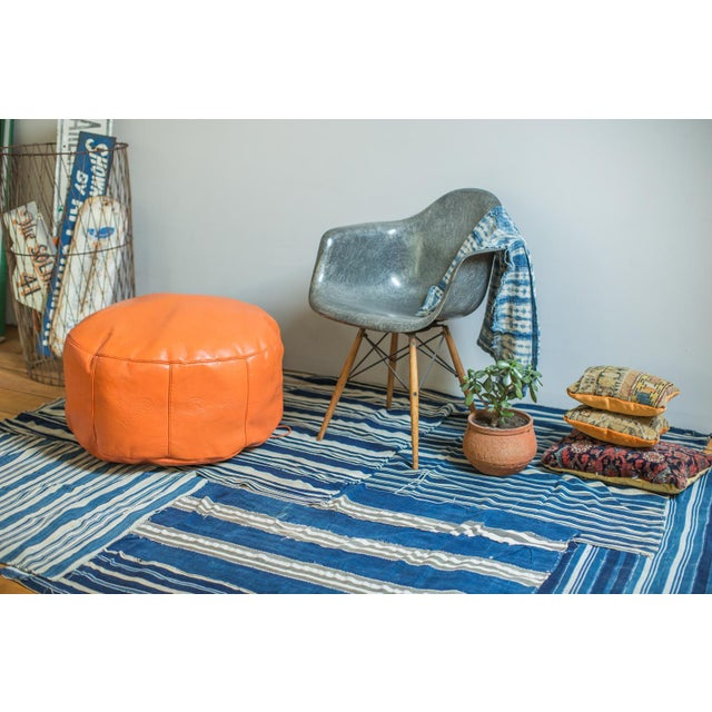 Antique Revival Orange Leather Pouf Ottoman For Sale In New York - Image 6 of 9