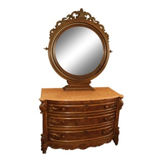 19th Century Antique French Walnut Victorian Dresser With Mirror For Sale