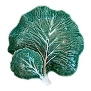 1970's Bordallo Pinheiro Green Cabbage Serving Dish For Sale