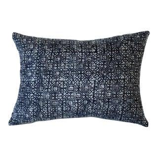 """Indigo Batik Accent Pillow - 16""""x12"""" For Sale"""