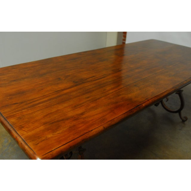 Spanish Colonial Trestle Table With Wrought Iron - Image 10 of 10