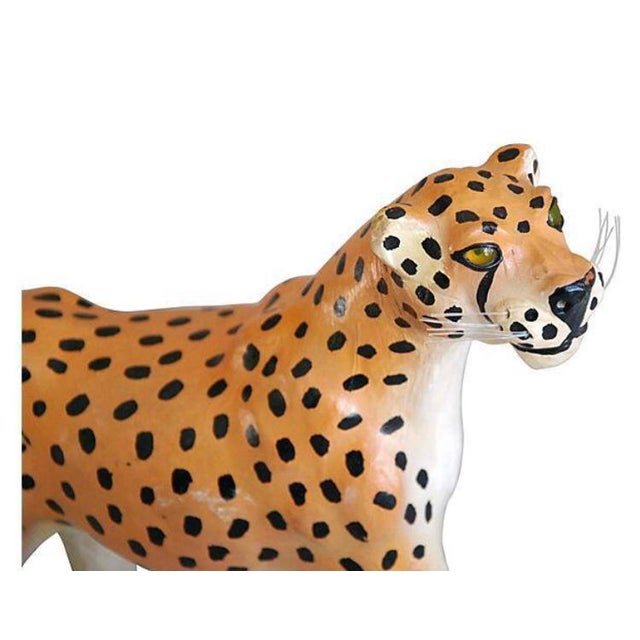 Hollywood Regency Hand Painted Vintage Leather Cheetah For Sale - Image 3 of 6