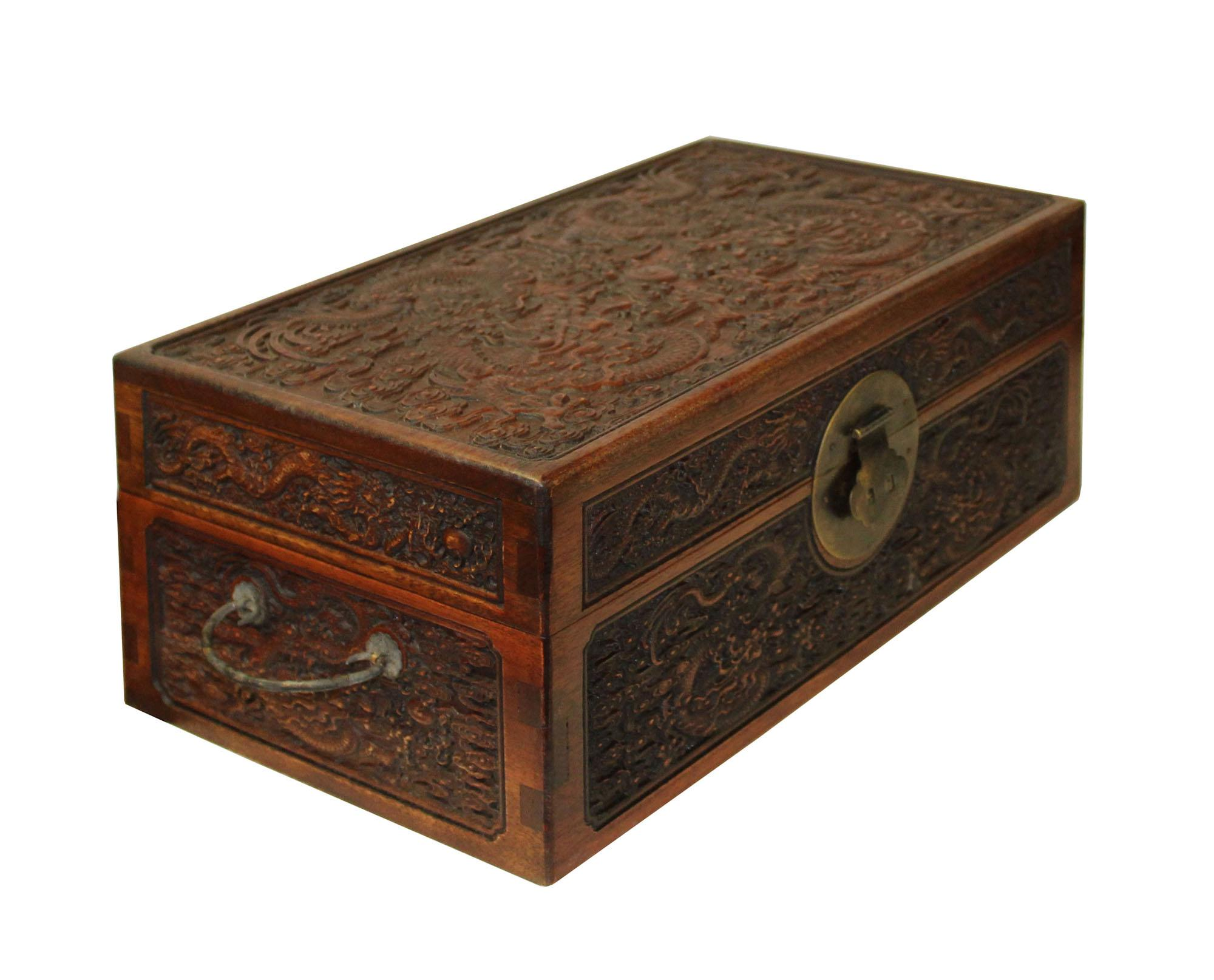 Chinese Storage Chest #10   Chinese Brown Dimensional Relief Dragons Motif  Rectangular Storage Box Chest   Image 3 Of 7
